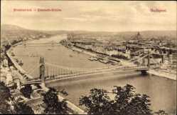 Postcard Budapest Ungarn, Blick auf die Elisabeth Brücke und den Ort