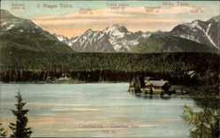 Postcard Vysoké Tatry Hohe Tatra Slowakei, Csorber See, Kopki, Osterva
