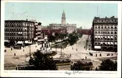Postcard Detroit Michigan USA, Cadillac Square an d County building, cable car
