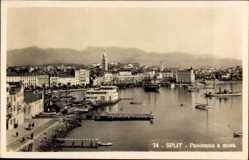 Postcard Split Kroatien, Panorama s mora, Hafenpartie, Häuser, Berge