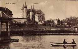 Postcard Lohr im Spessart Unterfranken, Partie am Main mit Blick auf Schloss