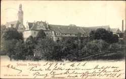 Ansichtskarte / Postkarte Sieritz Diera Zehren, Blick auf das Schloss mit Turm