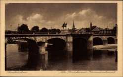 Postcard Saarbrücken im Saarland, Alte Brücke mit Kaiserdenkmal