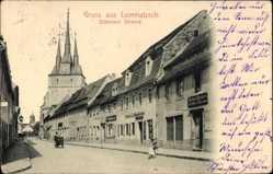 Ansichtskarte / Postkarte Lommatzsch in Sachsen, Döbelner Straße, Richard Beckert, Kirche