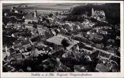 Ansichtskarte / Postkarte Strehla an der Elbe, Fliegeraufnahme der Stadt, Kirche