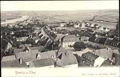 Ansichtskarte / Postkarte Strehla in Sachsen, Blick über die Dächer auf die Landschaft