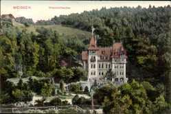 Ansichtskarte / Postkarte Meißen in Sachsen, Blick auf das Waldschlösschen, Wald, Parkanlage