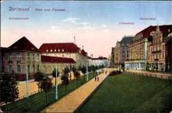 Postcard Dortmund, Blick vom Freistuhl, Bahnpostamt, Löwenhof, Fürstenhof