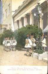 Künstler Ak Athen Griechenland, Relèvement de la Garde du Palais