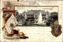 Präge Wappen Litho Frankfurt, Palmengarten, Bratwürstchen, Zeitung