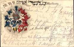Studentika Präge Litho Marburg an der Lahn, M. Ph. D. sei's Panier, 1909