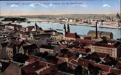 Postcard Budapest Ungarn, Ansicht von der Fischerbastei, Stadt, Brücke, Fluss