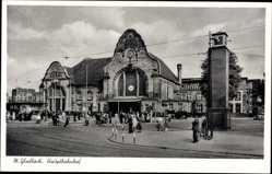 Postcard Mönchengladbach in Nordrhein Westfalen, Hauptbahnhof, Vorplatz