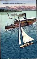 Postcard Salondampfer München auf dem Starnberger See, Segelboot