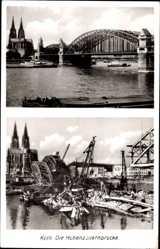 Postcard Köln am Rhein, Blick auf die Hohenzollernbrücke, Bau der Brücke