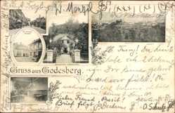 Postcard Bad Godesberg Bonn Rhein, Restauration Schumacher, Panorama, Hotel