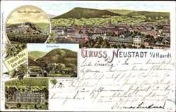 Litho Neustadt an der Weinstraße, Totale, Schlösschen, Schöntal, Realschule
