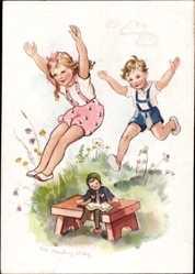 Künstler Ak Oldenburg Wittig, Lotte, rennende Kinder, Puppe, Glückliche Kindheit