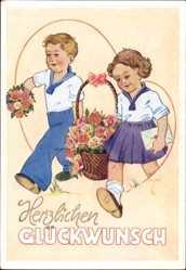 Künstler Ak Schiel, Herzlichen Glückwunsch, Kinder in Pionieranzug mit Korb