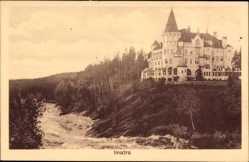 Postcard Imatra Südfinnland, Villa auf einem Felsen am Flusslauf, Hotel