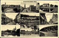 Ak Tschernjachowsk Insterburg Ostpreußen, Hindenburgstr, Alter Markt, Bahnhof