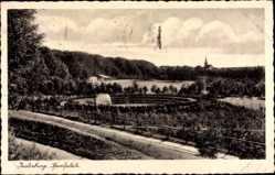 Ak Tschernjachowsk Insterburg Ostpreußen, Blick zum Sportplatz