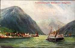 Künstler Ak Balholmen Norwegen, Touristendampfer Blücher, Fjord, HAPAG