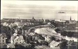 Postcard Trondhjem Trondheim Norwegen, Fliegeraufnahme, Küste, Fluss