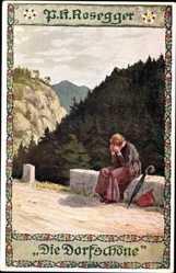 Künstler Ak Kutzer, E., Die Dorfschöne, Frau auf Mauer sitzend, P. H. Rosegger