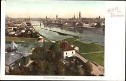 Postcard Hansestadt Bremen, Panoramablick auf die Stadt, Flusspartie