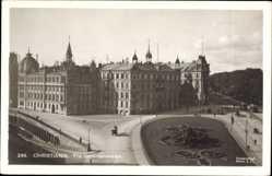 Postcard Christiania Oslo Norwegen, Fra Drammensveien, Platz, Blumenbeete