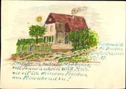 Handgemalt Ak Friedenwald Moritzburg, Haus in der Großenhainer Str. 37