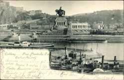 Postcard Koblenz in Rheinland Pfalz, Das Deutsche Eck, Salon Dampfer Neuwied