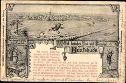 Künstler Ak Buxtehude im Kreis Stade, Wettlauf zwischen Hase und Igel