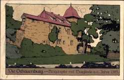 Steindruck Ak Rinteln an der Weser, die Schaumburg, Eingangstor