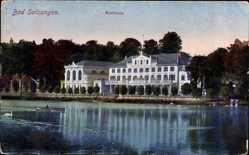 Postcard Bad Salzungen im Wartburgkreis, Blick auf das Kurhaus, Seitenansicht
