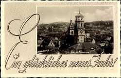 Postcard Stuttgart in Baden Württemberg, Ansicht der Stiftskirche, Turm, Neujahr
