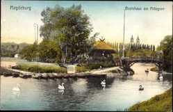 Postcard Magdeburg in Sachsen Anhalt, Bootshaus am Mittagsee