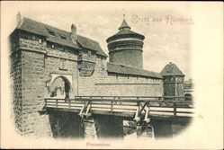 Postcard Nürnberg in Mittelfranken Bayern, Ansicht vom Frauenthor mit Brücke
