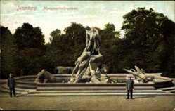 Ak Bydgoszcz Bromberg Westpreußen, Monumentalbrunnen, Soldaten