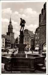 Postcard Dortmund im Ruhrgebiet, Blick auf den Marktbrunnen, Glockenturm