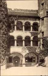 Postcard Heidelberg am Neckar, Die Arkaden im Schlosshof, Rankenbewuchs