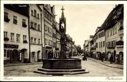 Postcard Füssen im schwäbischen Kreis Ostallgäu, Blick in die Reichenstraße, Brunnen
