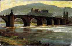 Künstler Ak Hoffmann, H., Heidelberg am Neckar, Neckarbrücke, Karl Theodor