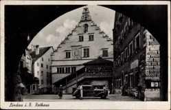 Postcard Lindau im Bodensee Schwaben, Blick auf das Rathaus, Auto, Giebel