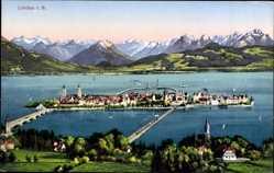Postcard Lindau im Bodensee Schwaben, Blick auf den Ort, Gebirge, Hafeneinfahrt