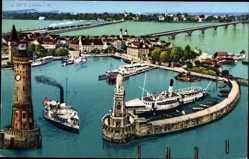 Postcard Lindau im Bodensee Schwaben, Blick auf den Ort, Leuchtturm, Hafeneinfahrt