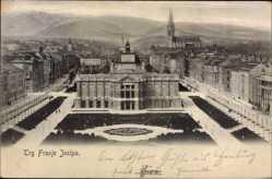 Postcard Zagreb Kroatien, Trg Franje Josipa, Vogelschau auf den Platz