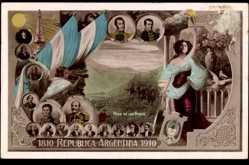 Postcard Argentinien, 1810 bis 1910, Republica, San Martin, Belgrano, Las Heras