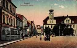Postcard Belgrad Beograd Serbien, Marktplatz mit Blick auf das Rathaus